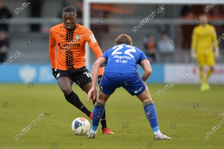 Wesley Fonguck of Barnet  takes on Charlie Cooper of F.C Halifax during Barnet vs FC Halifax Town, Vanarama National League Football at the Hive Stadium on 4th January 2020