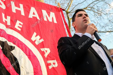 Richard Burgon MP. Say No to War in Iran protest opposite Downing Street.