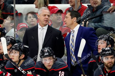 Rod Brind 'Amour, Jeff Daniels. Carolina Hurricanes head coach Rod Brind 'Amour speaks with assistant coach Jeff Daniels during the third period of an NHL hockey game against the Washington Capitals in Raleigh, N.C