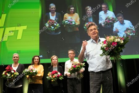 Leader of the Austrian Green Party, Werner Kogler (R) with the nominated ministers (L-R) Ulrike Lunacek, Alma Zadic, Leonore Gewessler and Rudi Anschober during the Green Party federal congress in Salzburg, Austria, 04 January 2020. Kurz and Kogler agreed on a coalition of the OeVP and the Green Party to form a new government on 01 January 2020.