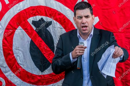 Shadow Justice Secretary Richard Burgon speaking at the protest
