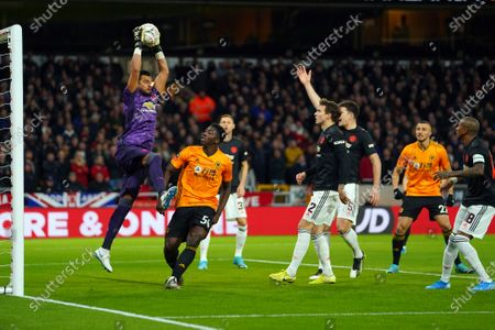 Manchester United's Sergio Romero catches under pressure during the English FA Cup soccer match between Wolverhampton Wanderers and Manchester United at the Molineux stadium in Wolverhampton, Britain, 04 January 2020.