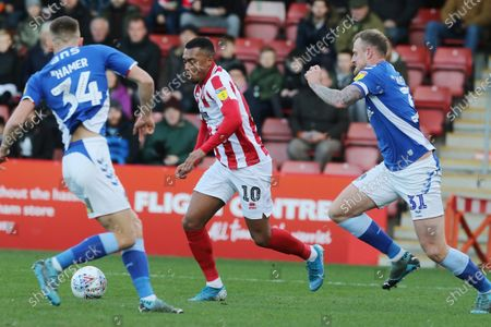 Tom Hamer, Tahvon Campbell, and David Wheater during the EFL Sky Bet League 2 match between Cheltenham Town and Oldham Athletic at Jonny Rocks Stadium, Cheltenham