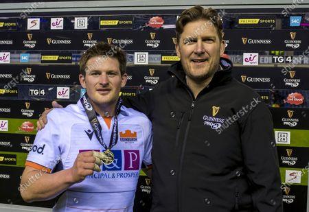 Edinburgh vs Isuzu Southern Kings. Edinburgh's James Johnson receives the Guinness Man of the Match award