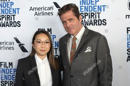 Stock Picture of Lulu Wang, Josh Welsh. Lulu Wang, left, and Josh Welsh attend the 2020 Film Independent Spirit Awards Nominee Brunch at the Boa Steakhouse, in West Hollywood, Calif