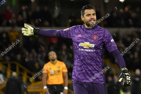 Manchester United's goalkeeper Sergio Romero during the FA Cup third round soccer match between Wolverhampton Wanderers and Manchester United at the Molineux Stadium in Wolverhampton, England