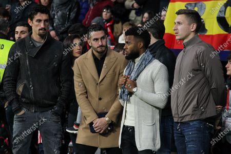 Sime Vrsaljko, of Atletico de Madrid, Koke Resurreccion, of Atletico de Madrid, and Thomas Lemar, of Atletico de Madrid
