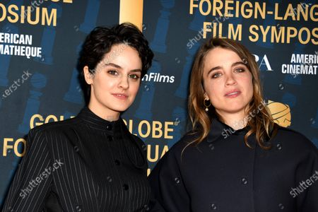 Noemie Merlant (L) and Adele Haenel attend the 2019 Golden Globe Foreign-Language Film Symposium in Hollywood, California, USA
