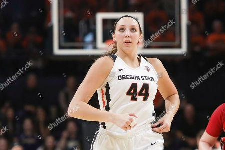Oregon State's Taylor Jones (44) relocates on court during the second half of an NCAA college basketball game against Utah in Corvallis, Ore., . Oregon State won 77-48