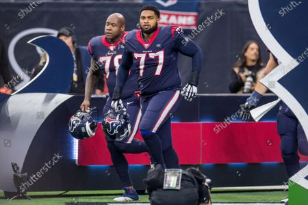 Stock Picture of Houston Texans offensive tackle Chris Clark (77) enters the field prior to an NFL football playoff game between the Buffalo Bills and the Houston Texans at NRG Stadium in Houston, TX. The Texans won 22 to 19 in overtime
