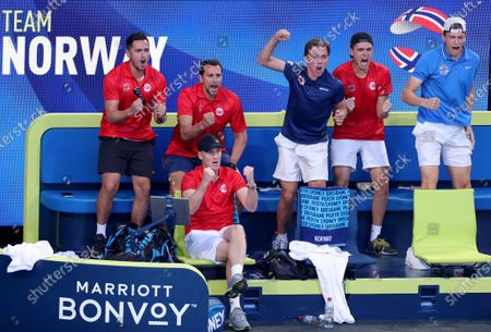 Team Norway react during the Casper Ruud and Viktor Durasovic of Norway doubles match against Fabio Fognini and Simone Bolelli of Italy during day three of the ATP Cup tennis tournament at RAC Arena in Perth, Australia, 05 January 2020.