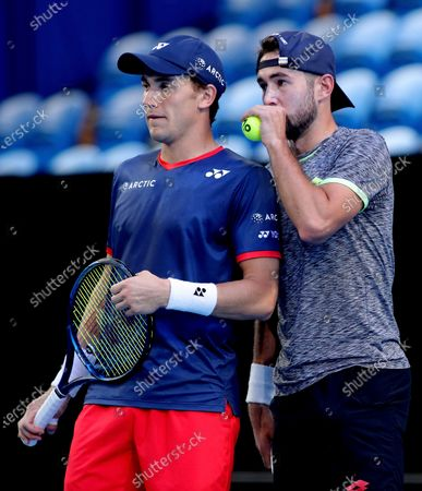 Casper Ruud and Viktor Durasovic of Norway in action during their doubles match against Fabio Fognini and Simone Bolelli of Italy during day 3 of the ATP Cup tennis tournament at RAC Arena in Perth, Australia, 05 January 2020.