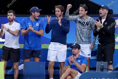 Team Italy reacts during the Fabio Fognini and Simone Bolelli of Italy doubles match against Casper Ruud and Viktor Durasovic of Norway during day 3 of the ATP Cup tennis tournament at RAC Arena in Perth, Australia, 05 January 2020.