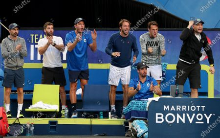 Team Italy celebrate after Fabio Fognini and Simone Bolelli of Italy win their doubles match against Casper Ruud and Viktor Durasovic of Norway during day 3 of the ATP Cup tennis tournament at RAC Arena in Perth, Australia, 05 January 2020.