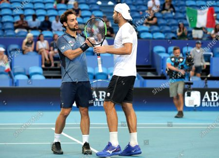 Fabio Fognini and Simone Bolelli of Italy celebrate winning their doubles match against Casper Ruud and Viktor Durasovic of Norway during day 3 of the ATP Cup tennis tournament at RAC Arena in Perth, Australia, 05 January 2020.