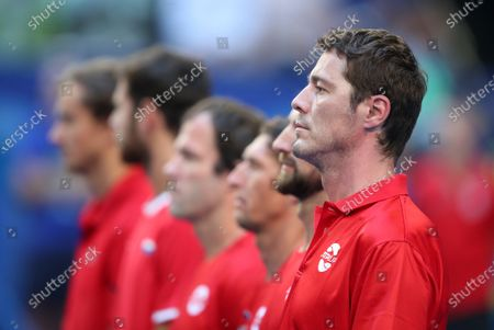 Marat Safin, team captain of Russia is seen with the team during the national anthem during day 3 of the ATP Cup tennis tournament at RAC Arena in Perth, Australia, 05 January 2020.