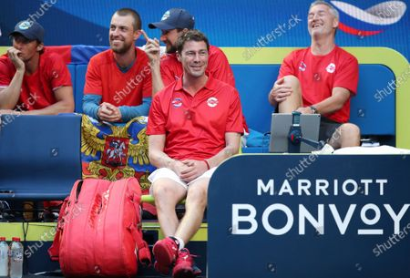 Marat Safin, team captain of Russia is seen on the team bench during day 3 of the ATP Cup tennis tournament at RAC Arena in Perth, Australia, 05 January 2020.