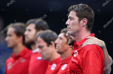 Marat Safin, team captain of Russia, is seen with the team during the national anthem during day 3 of the ATP Cup tennis tournament at RAC Arena in Perth, Australia, 05 January 2020.