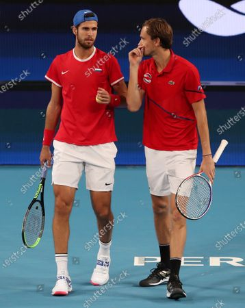 Daniil Medvedev and Karen Khachanov of Russia in action during their Doubles match against Rajeev Ram and Austin Krajicek of the USA during day 3 of the ATP Cup tennis tournament at the RAC Arena in Perth, Australia, 05 January 2020.