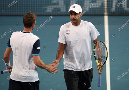 Austin Krajicek and Rajeev Ram of the USA in action during their Doubles match against Daniil Medvedev and Karen Khachanov of Russia during day 3 of the ATP Cup tennis tournament at the RAC Arena in Perth, Australia, 05 January 2020.