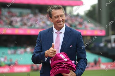 Stock Image of Glenn McGrath gestures after receiving pink caps from the New Zealand team during day three of the third Test Match between Australia and New Zealand at the Sydney Cricket Ground (SCG) in Sydney, Australia, 05 January 2020.