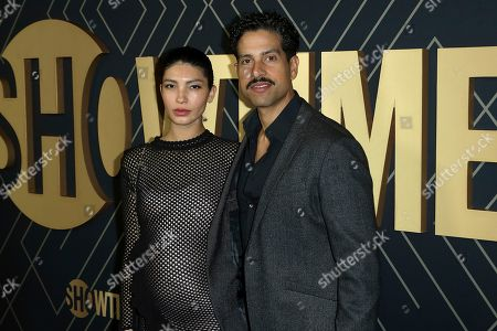 Stock Picture of Grace Gail, Adam Rodriguez. Grace Gail, left, and Adam Rodriguez attend the 2020 Showtime Golden Globe Nominees Celebration at the Sunset Tower Hotel, in Los Angeles