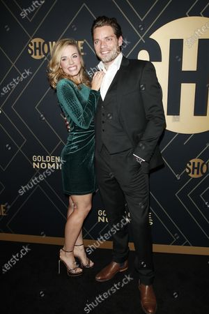 Stock Photo of Molly Burnett and Dominic Sherwood (R) arrive for the Showtime Golden Globe Nominees Celebration at the Sunset Tower Hotel in West Hollywood, California, USA, 04 January 2020.