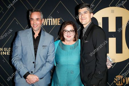 Stock Photo of Jeremy Gold, Marci Wiseman and Chris Dickie arrive for the Showtime Golden Globe Nominees Celebration at the Sunset Tower Hotel in West Hollywood, California, USA, 04 January 2020.
