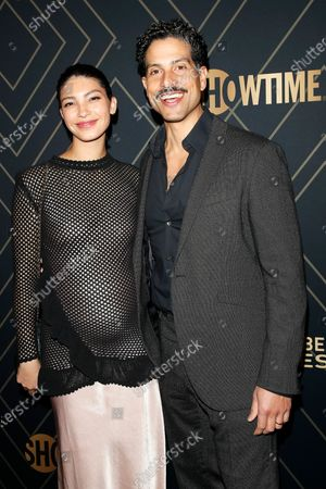 Stock Photo of Grace Gail and husband Adam Rodriguez arrive for the Showtime Golden Globe Nominees Celebration at the Sunset Tower Hotel in West Hollywood, California, USA, 04 January 2020.