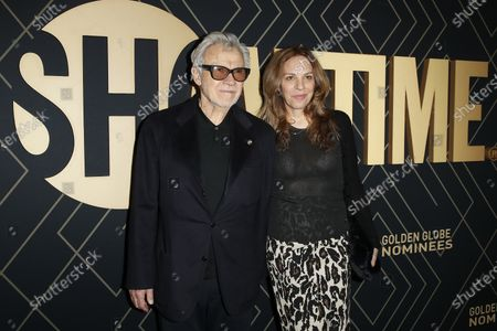 Harvey Keitel arrives with Daphna Kastner (R) for the Showtime Golden Globe Nominees Celebration at the Sunset Tower Hotel in West Hollywood, California, USA, 04 January 2020