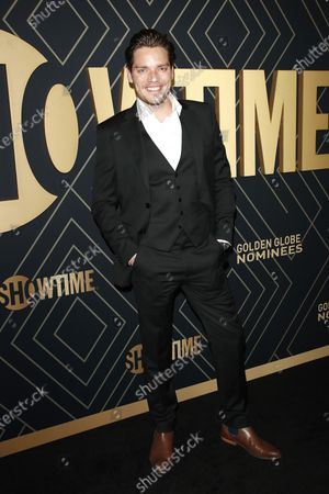 Dominic Sherwood arrives for the Showtime Golden Globe Nominees Celebration at the Sunset Tower Hotel in West Hollywood, California, USA, 04 January 2020