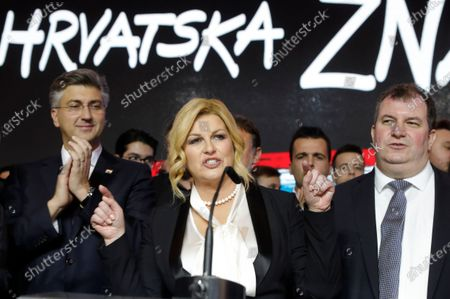 Croatian Presidential candidate and current President Kolinda Grabar-Kitarovic (L) and her husband Jakov Kitarovic (R) and Croatian Prime Minister Andrej Plenkovic (L) speak to supporters after the Presidential elections in Zagreb, Croatia, 05 January 2020. According to initial exit polls, Zoran Milanovic has won presidential elections with 54 percent of votes ahead of incumbent president Kolinda Grabar-Kitarovic.