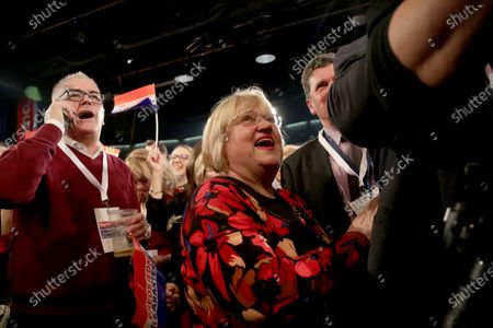 Supporters of Croatian presidential candidate of Social Democratic Party (SDP) Zoran Milanovic celebrate during an election night rally in Zagreb, Croatia, 05 January 2020. According to initial exit polls, milanovic has won presidential elections with 54 percent of votes ahead of incumbent president Kolinda Grabar-Kitarovic.