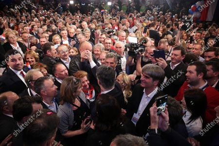 Croatian presidential candidate of Social Democratic Party (SDP) Zoran Milanovic (C) speaks to supporters during an election night rally in Zagreb, Croatia, 05 January 2020. According to initial exit polls, milanovic has won presidential elections with 54 percent of votes ahead of incumbent president Kolinda Grabar-Kitarovic.