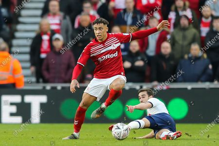 Middlesbrough midfielder Marcus Tavernier (7) on the ball as Tottenham Hotspur midfielder Harry Winks (8) points during the The FA Cup match between Middlesbrough and Tottenham Hotspur at the Riverside Stadium, Middlesbrough