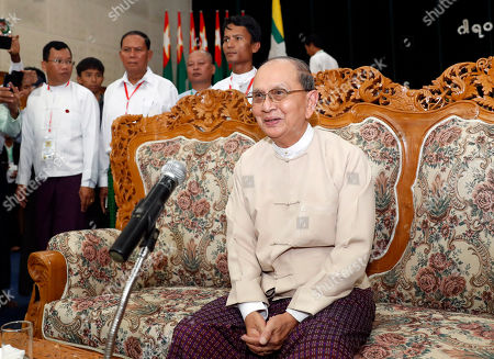 Myanmar former President Thein Sein speaks during a gathering at the headquarters of Union Solidarity and Development Party (USDP), in Naypyitaw, Myanmar