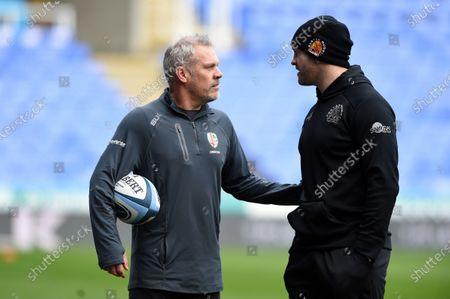 London Irish Assistant Coach Brad Davis speaks with Exeter Chiefs Assistant Coach Julian Salvi