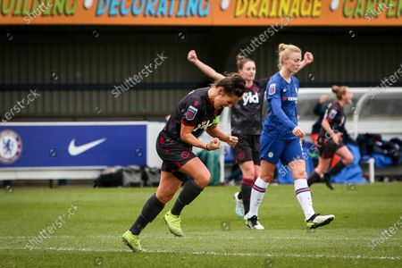 Fara Williams of Reading FC Women celebrates after she scores the opening goal to put reading 1-0 up