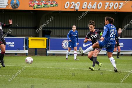 Fara Williams of Reading FC Women scores the opening goal to put reading 1-0 up