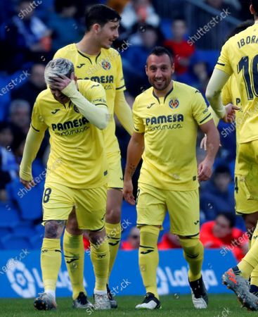 Villarreal's midfielder Santi Cazorla (2-R) celebrates with his teammates after scoring the 1-2 goal during the Spanish LaLiga match between Real Sociedad and Villarreal at Reale Arena stadium in San Sebastian, Basque Country, northern Spain, 05 January 2020.