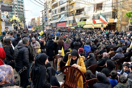 Supporters of Hezbollah gather to listen to Hezbollah's Secretary-General Sayed Hassan Nasrallah as he delivers a speech during a mass rally to pay tribute to the Iranian Revolutionary Guards Corps (IRGC) Lieutenant general and commander of the Quds Force Qasem Soleimani in the southern suburb of Beirut, Lebanon, 05 January 2020. The US Pentagon announced that Iran's Quds Force leader Soleimani and Iraqi militia commander Abu Mahdi al-Muhandis were killed on 03 January 2020 following a US airstrike at Baghdad's international airport. The attack comes amid escalating tensions between Tehran and Washington.