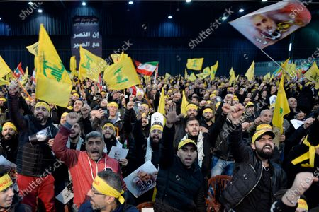 Editorial picture of Hezbollah Secretary-General Sayed Hassan Nasrallah delivers a speech, Beirut, Lebanon - 05 Jan 2020