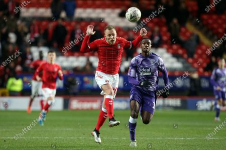 Chris Solly of Charlton Athletic and Rekeem Harper of West Bromwich Albion during Charlton Athletic vs West Bromwich Albion, Emirates FA Cup Football at The Valley on 5th January 2020