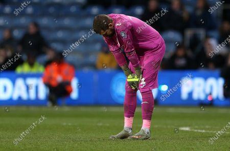 Dejected Kristoffer Nordfeldt of Swansea City.