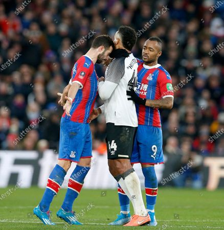 Luka Milivojevic of Crystal Palace headbutts Tom Huddlestone of Derby County and is sent off