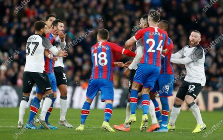 Players from both teams step in after Luka Milivojevic of Crystal Palace had headbutted Tom Huddlestone of Derby County