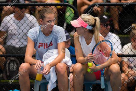 Karolina Pliskova of the Czech Republic with coach Olga Savchuk during practice ahead of the 2020 Brisbane International WTA Premier tennis tournament