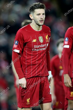 Liverpool midfielder Adam Lallana (20) during the The FA Cup match between Liverpool and Everton at Anfield, Liverpool
