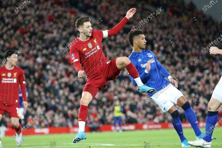 Stock Image of Liverpool midfielder Adam Lallana (20) during the The FA Cup match between Liverpool and Everton at Anfield, Liverpool