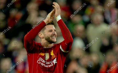 Liverpool's Adam Lallana reacts after the English Emirates FA Cup 3rd round soccer match between Liverpool and Everton at Anfield, Liverpool, Britain, 05 January 2020.